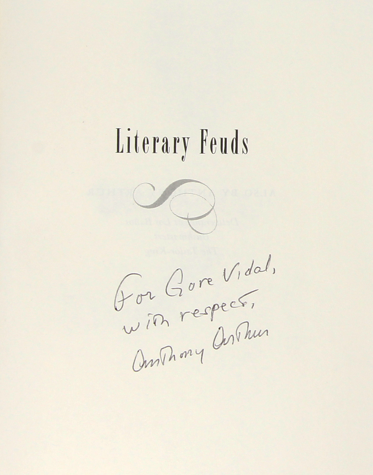 Literary Feuds Signed To Gore Vidal